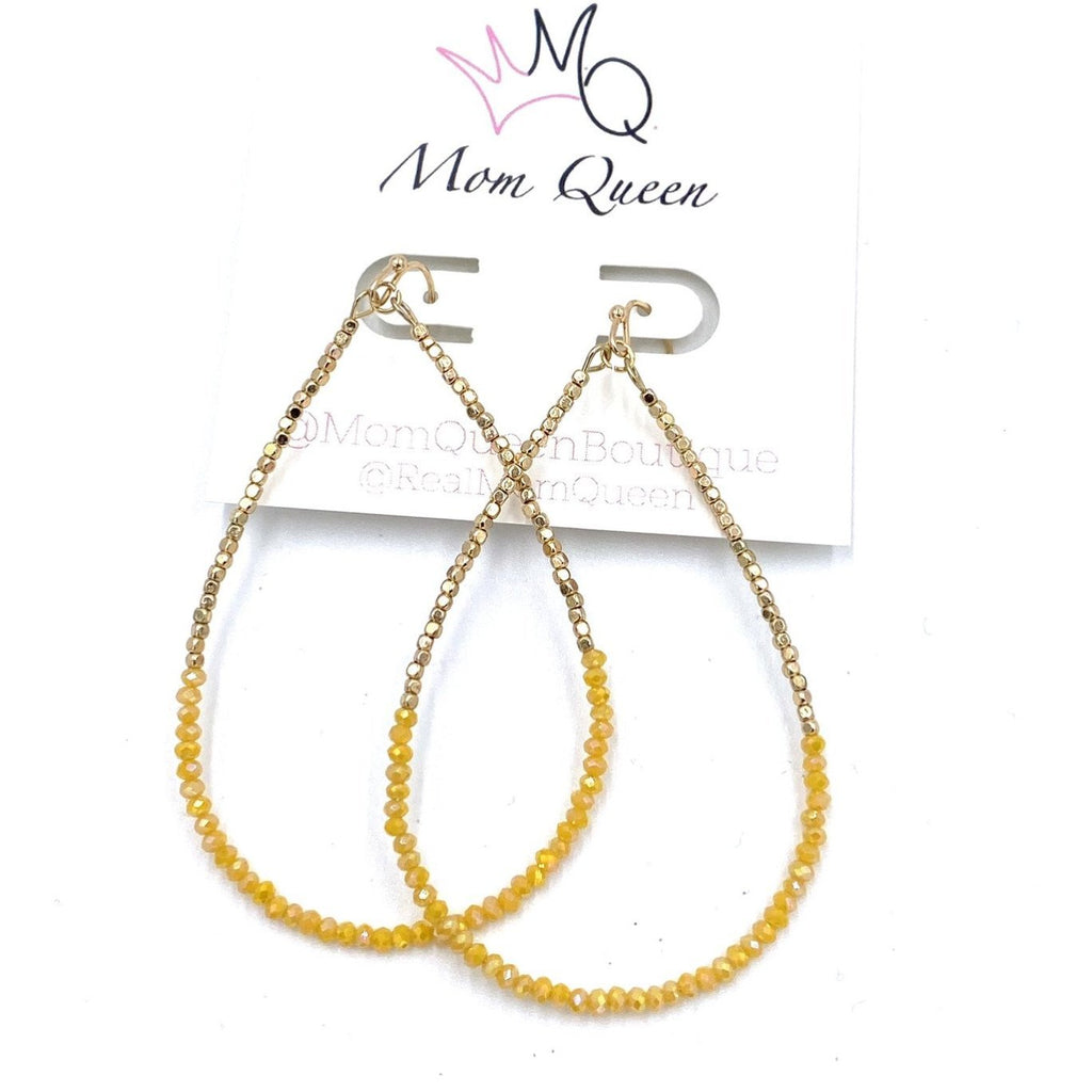EARRING: Yellow and gold teardrop - MomQueenBoutique