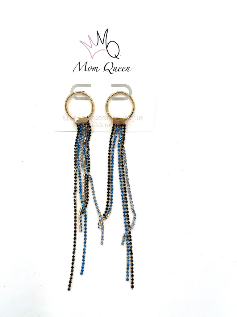 EARRINGS: Blue and Gold Dangle - MomQueenBoutique