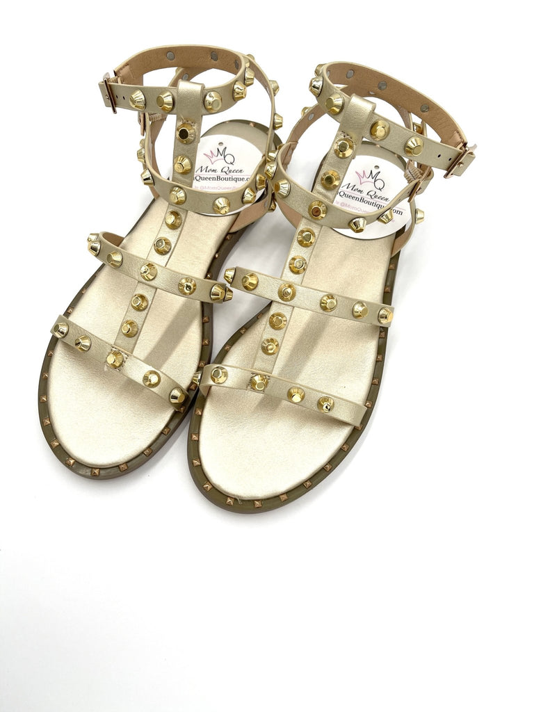 The Athena Sandals: Gold Stud Sandals - MomQueenBoutique