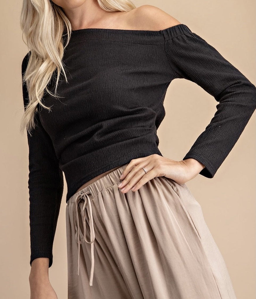 The Theresa Top: Asymmetric Hem Elbow Sleeve Top - MomQueenBoutique
