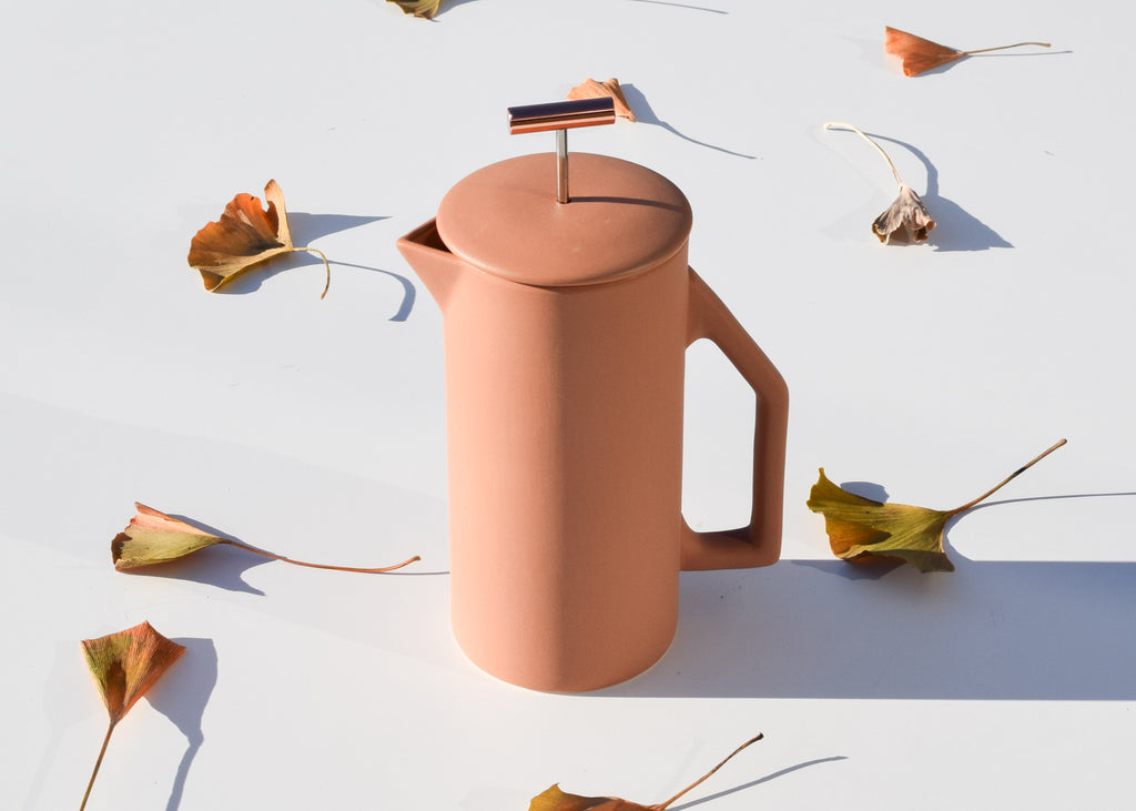 The 850ml Ceramic French Press in sand by Yield, from Commonplace design shop.