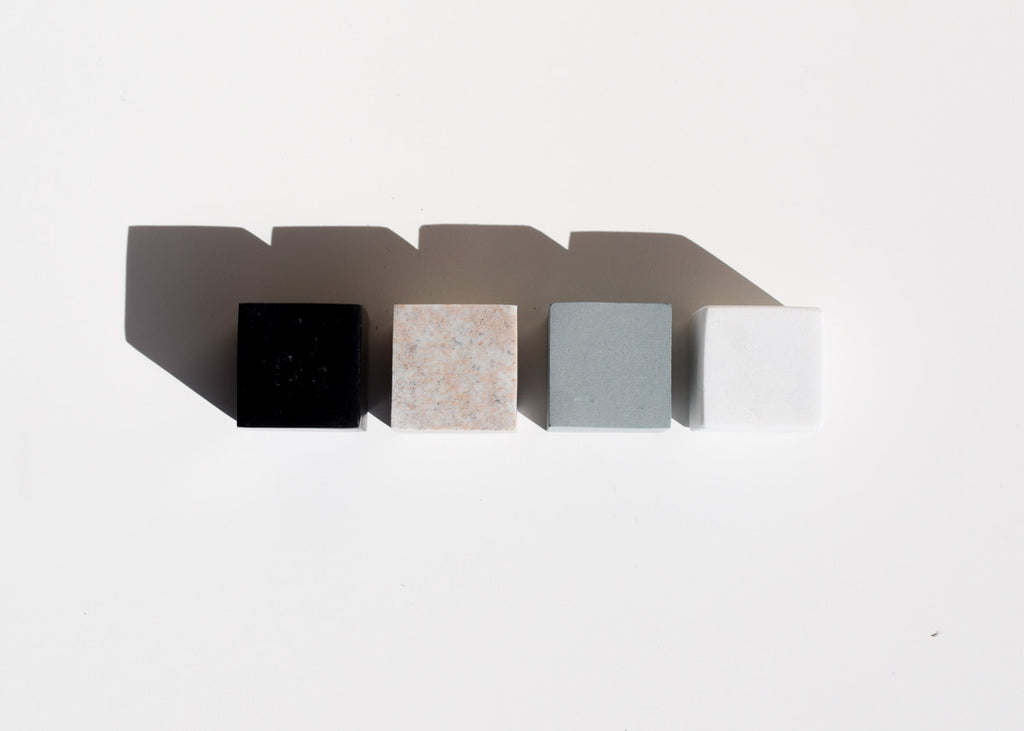 The Areaware Drink Rocks (Cubes) designed by Runa Klock made of soap stone and marble.