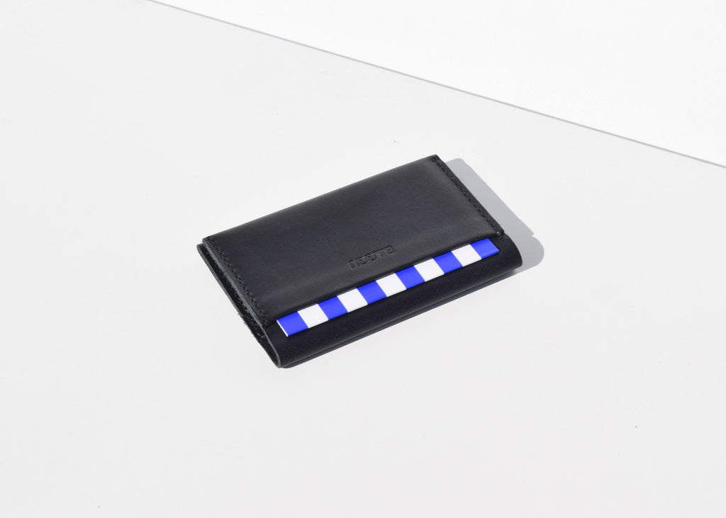 The Baggu leather Card Holder in black from Commonplace with outside and inside pockets.