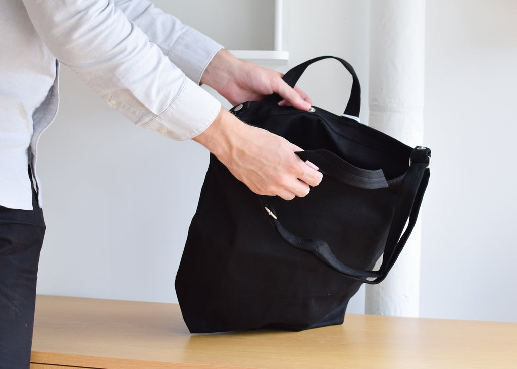 The Baggu Duck Bag in black, from Commonplace design shop.