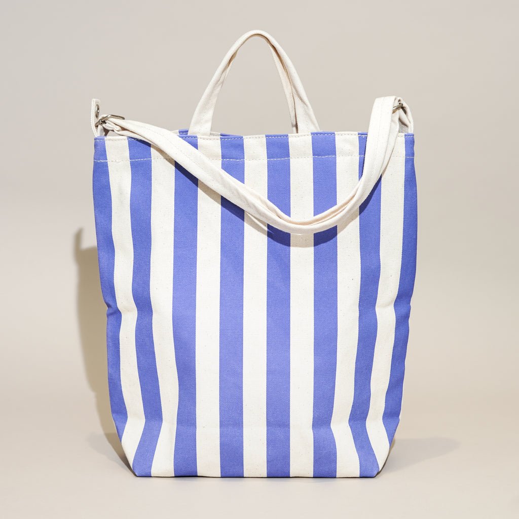 The Duck Bag by Baggu in Cornflower Stripe from Commonplace design shop in Milwaukee, Wisconsin.