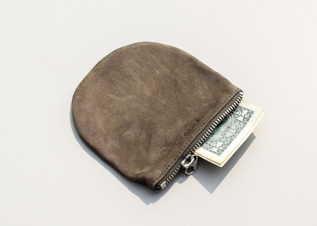 From Baggu, the small U Pouch in taupe nubuck - a simple clutch for everyday use.