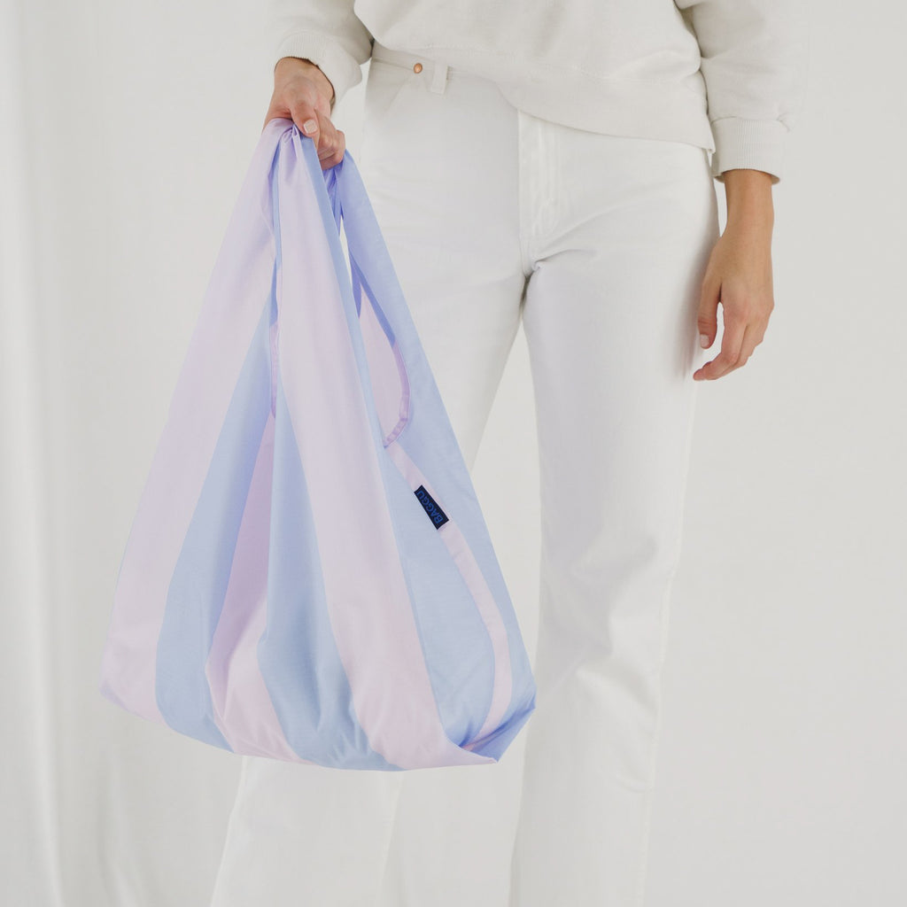 The Standard Baggu reusable tote bag in cornflower stripe from bag brand Baggu.