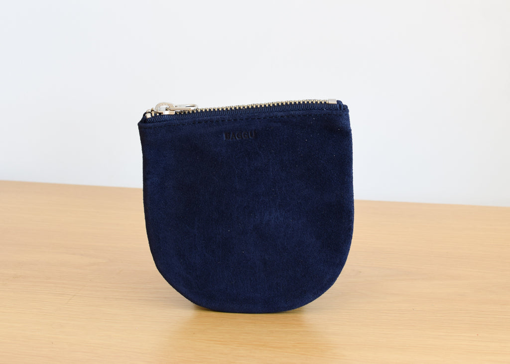 The U Pouch from Baggu in midnight suede.