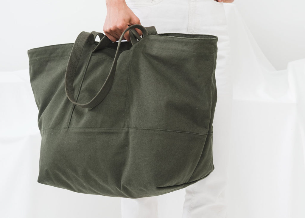 The Weekend Bag in dark olive by Baggu, from Commonplace design shop.