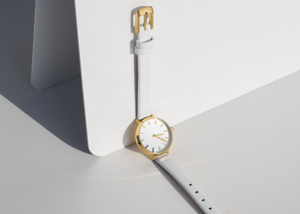 The Beverly Watch in gold & white from Breda with Japanese Quartz movement.