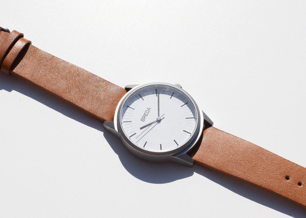 The Bresson Watch by Breda in silver and brown from Commonplace design shop.