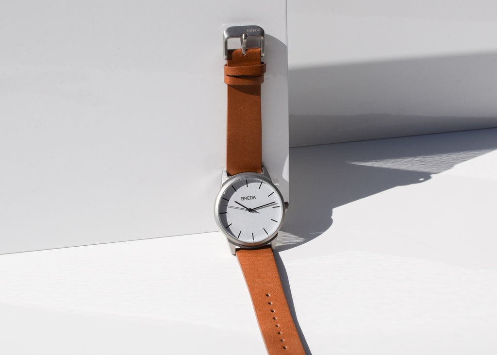 Breda Bresson watch in silver and brown from Commonplace.