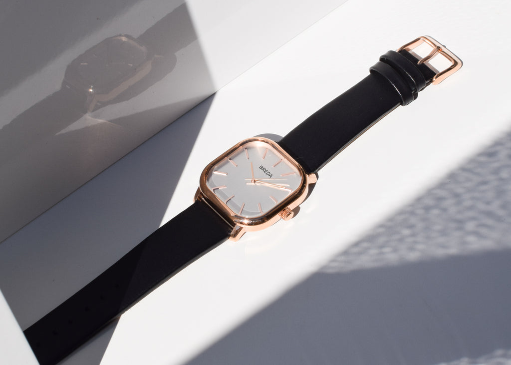 The Breda Visser Watch is rose gold and black from Commonplace.