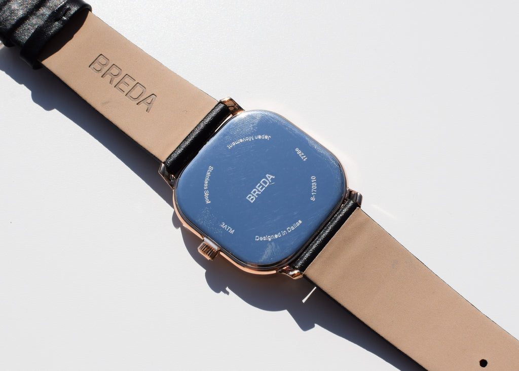 The Visser Watch from Breda in rose gold and black from Commonplace design shop.
