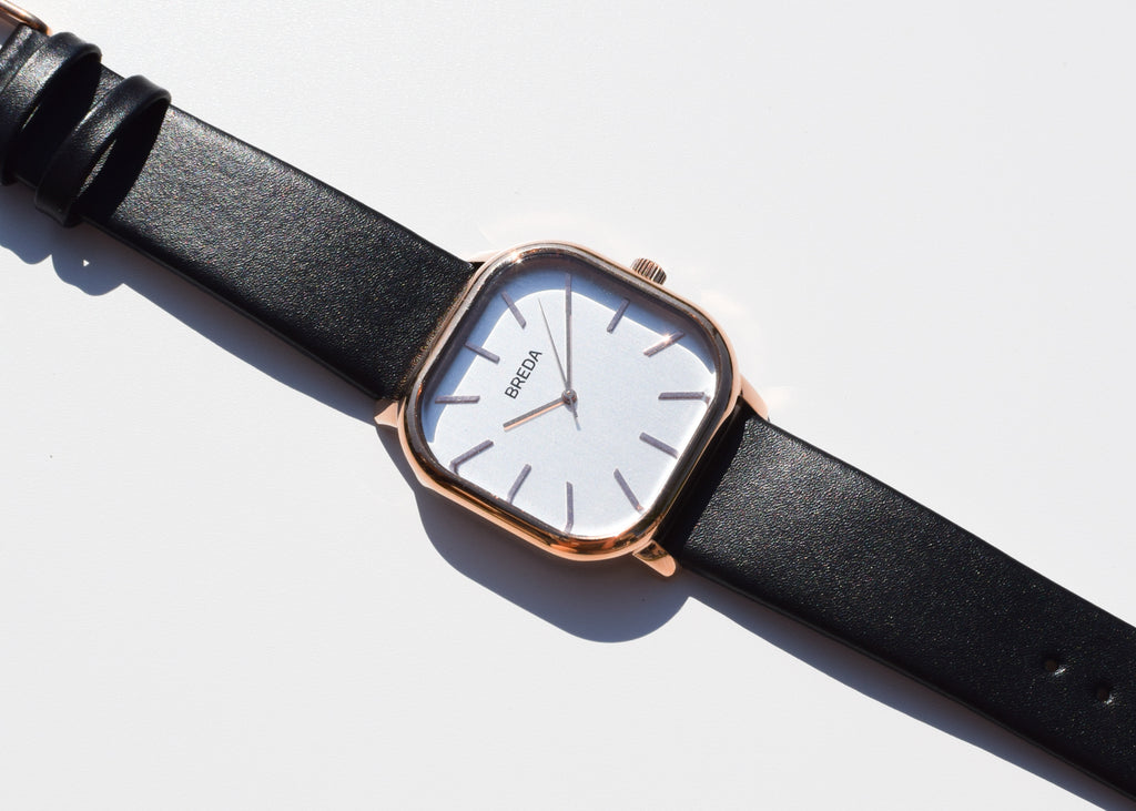 The Visser Watch from Breda in rose gold and black with square details from Commonplace design shop.
