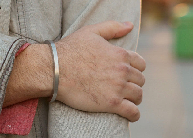 Craighill Square Cuff in Steel shown being worn.