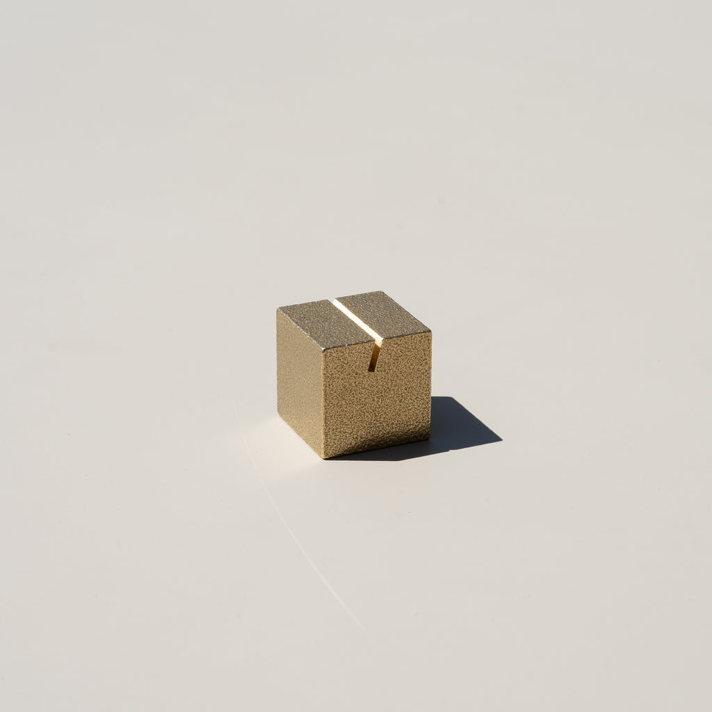 Cubic Brass Card Holder