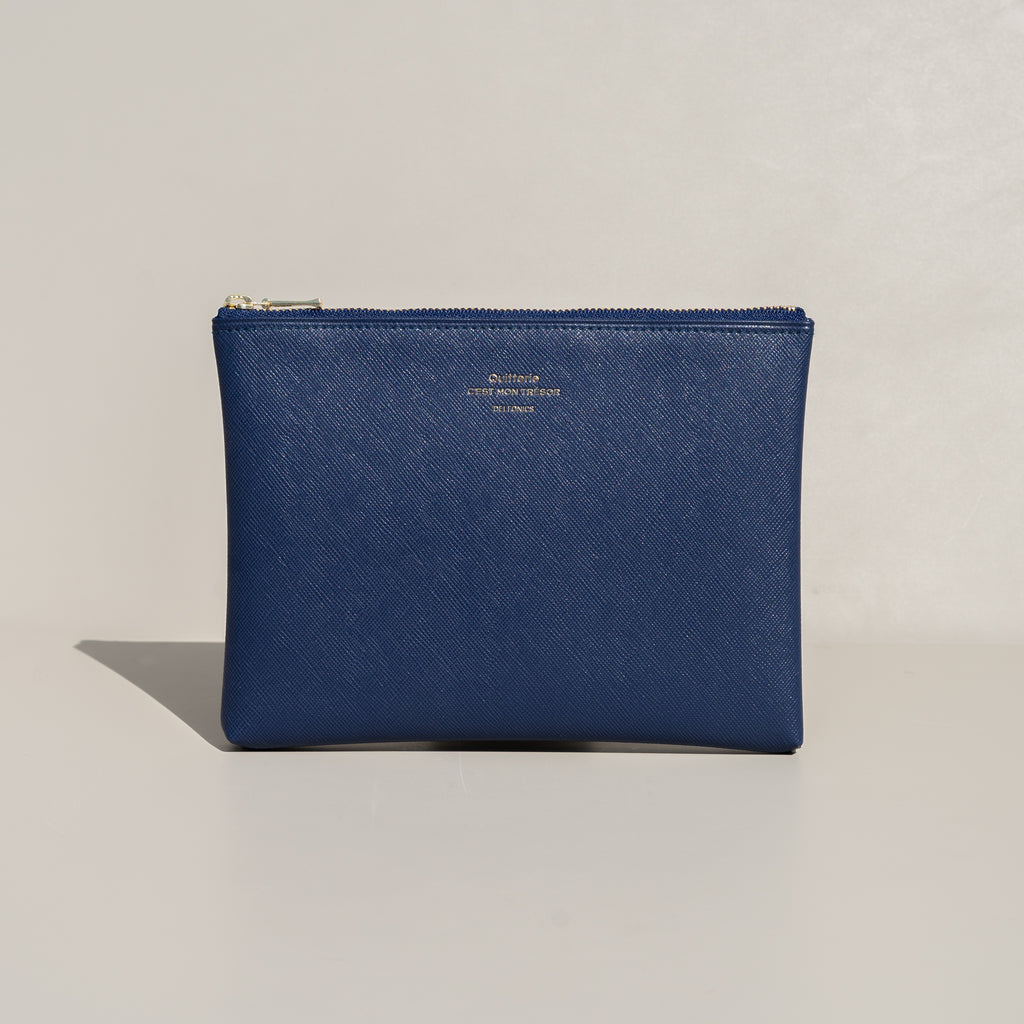 The Quitterie Pouch Case (Medium) from Delfonics in navy.