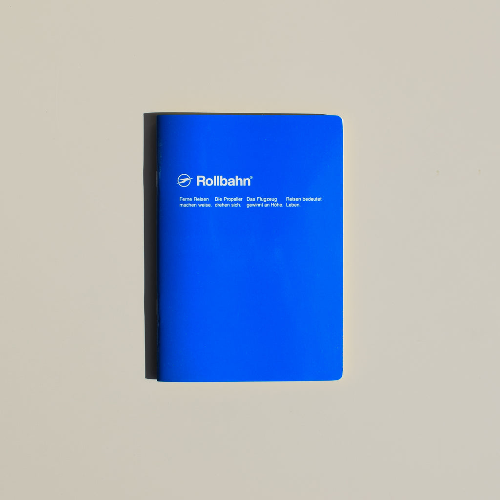 The Rollbahn 'Note' Notebook (A5 Medium) from Delfonics in blue.