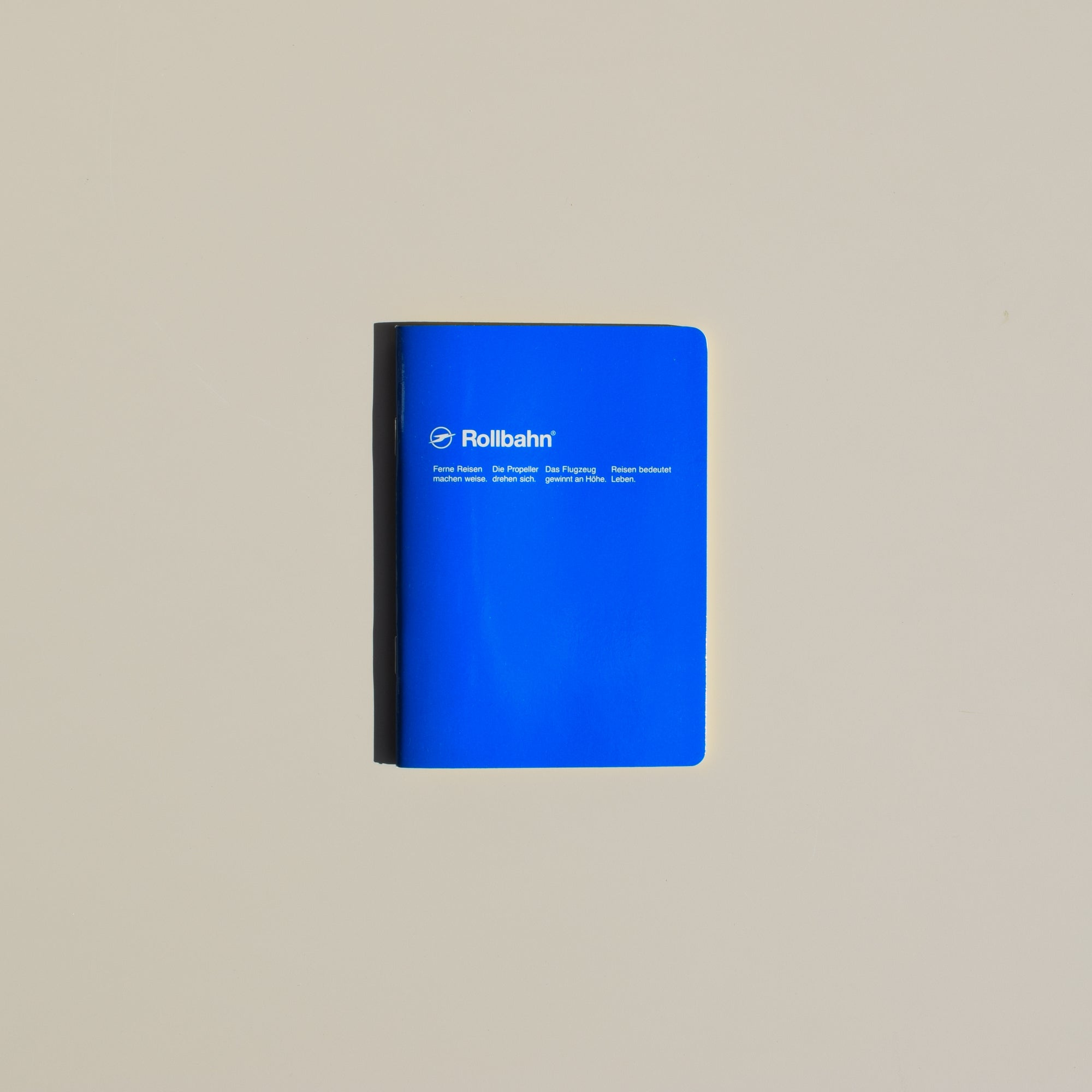 The Rollbahn 'Note' Notebook (A6 Pocket) from Delfonics in blue.