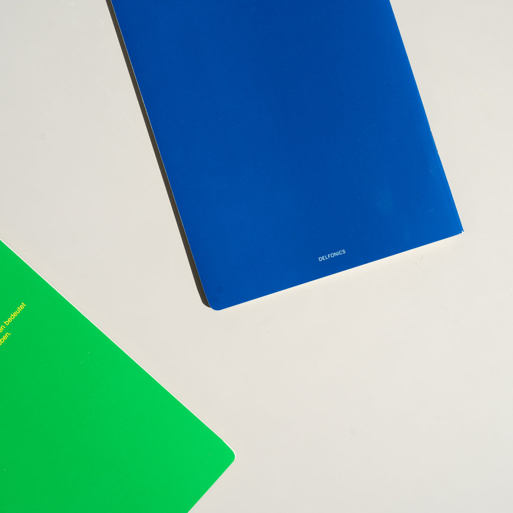 Solid colors highlight the back of the Rollbahn 'Note' Notebooks from Japanese stationary brand Delfonics.