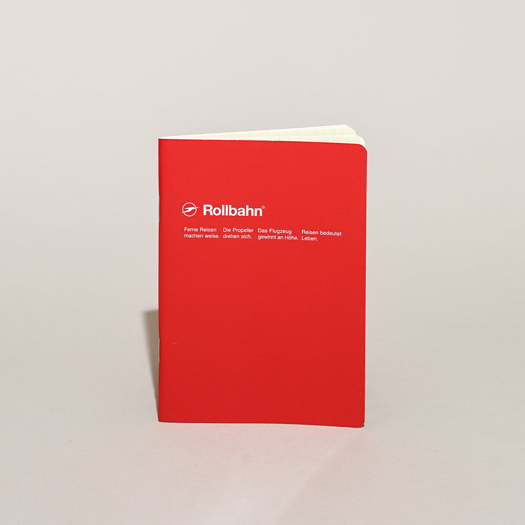 The Rollbahn 'Note' Notebook (A5 Medium) from Delfonics in red.