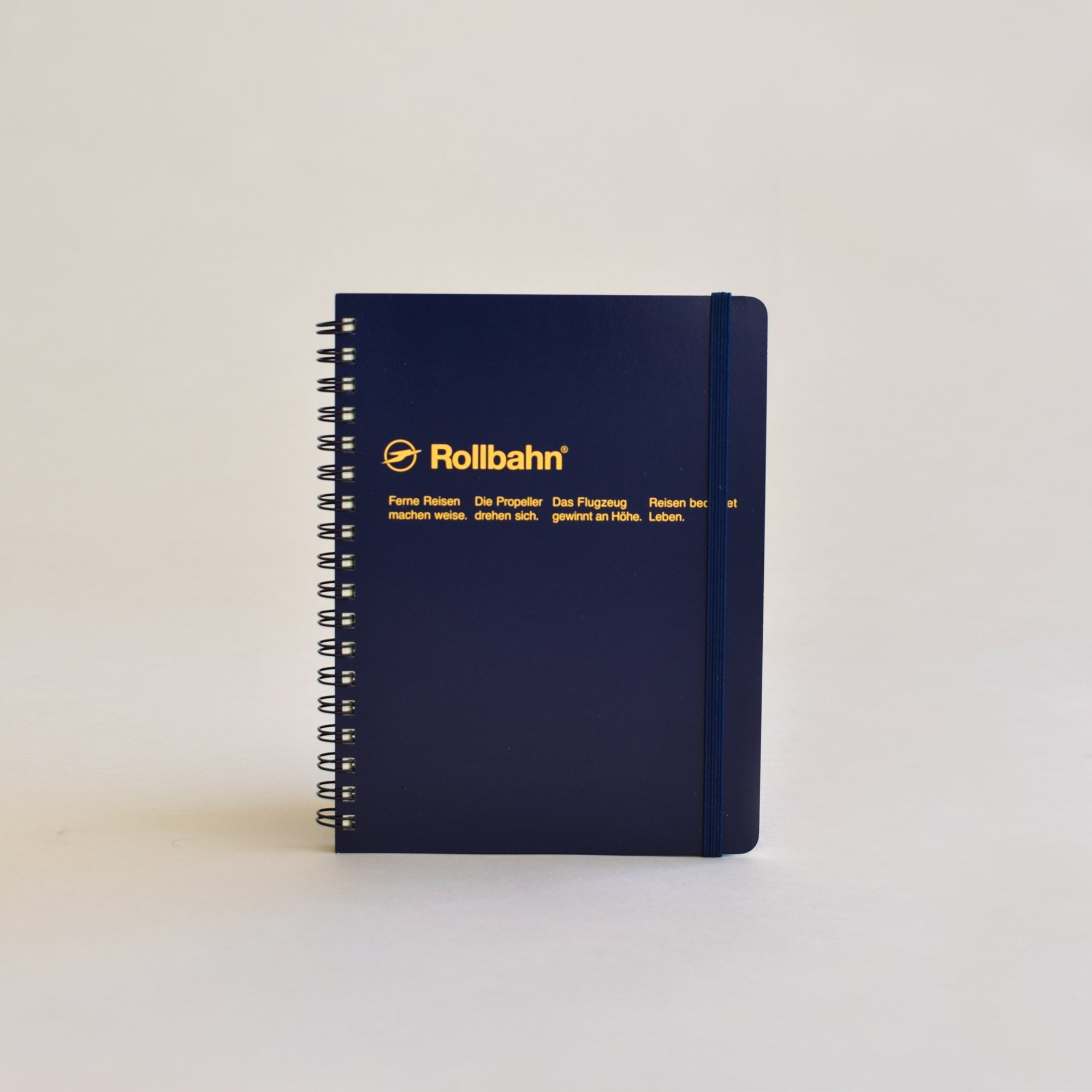 The Rollbahn Spiral Notebook Large Size from Delfonics in dark blue.