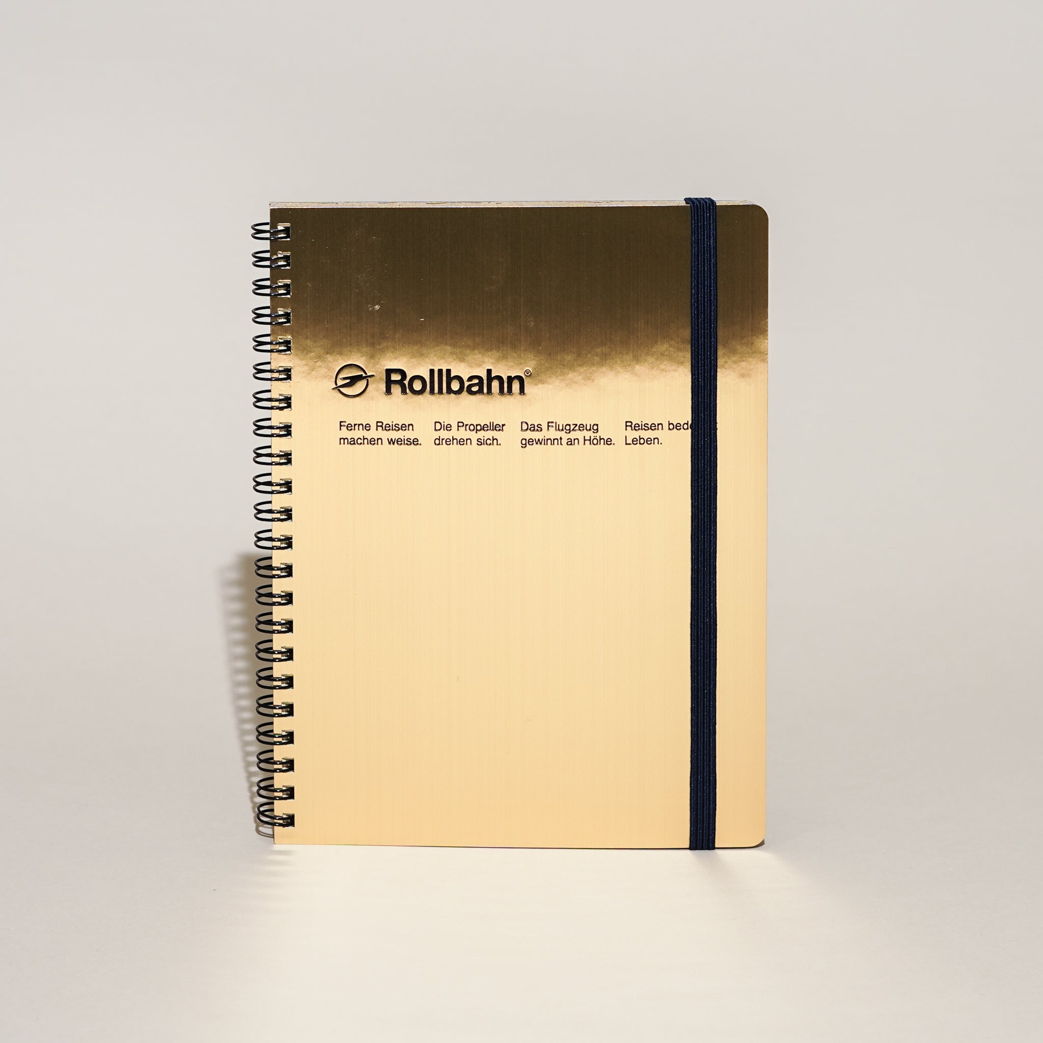 The Rollbahn Spiral Notebook (A5) from Delfonics Japan in gold from Commonplace design shop.