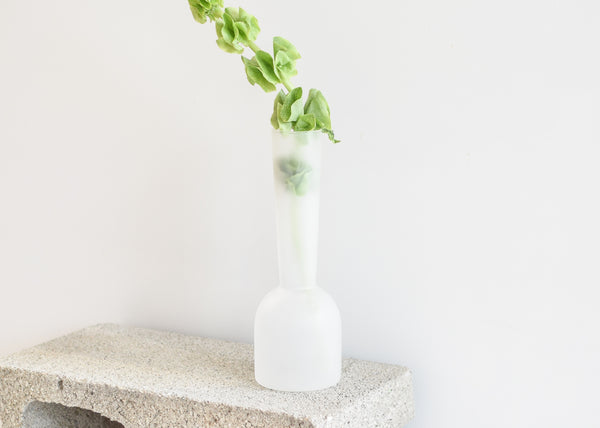 The frosted finish on the Gather Vase will let through just the right about of color.