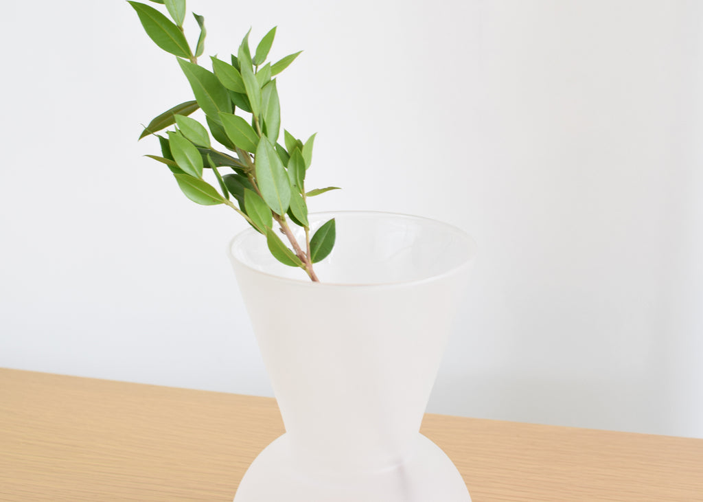 A close up of the Good Thing Gather Vase with a frosted finish.