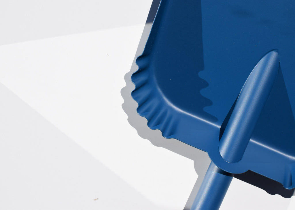The Good Think Richman Dustpan in blue with beech sweep and steel base.