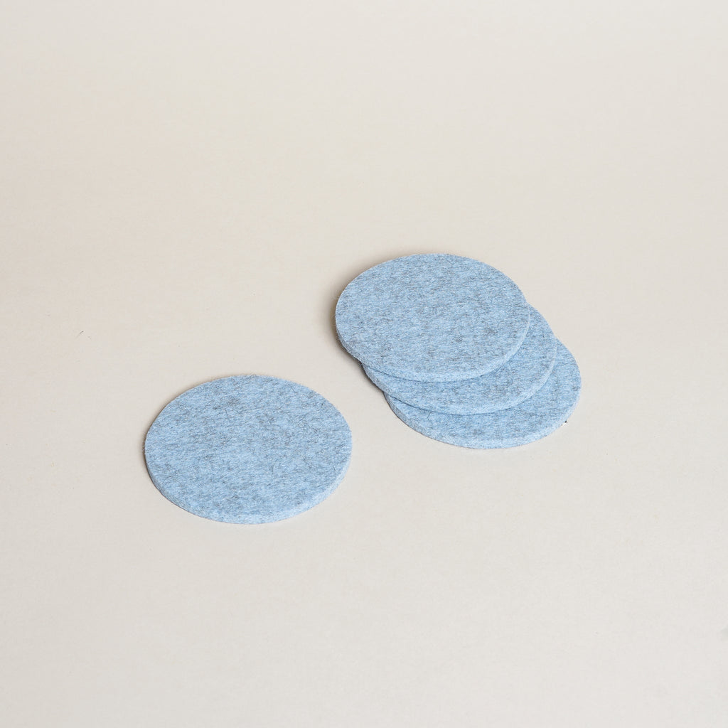 Graf Lantz Bierfilzl Round Felt Coasters in heather blue.