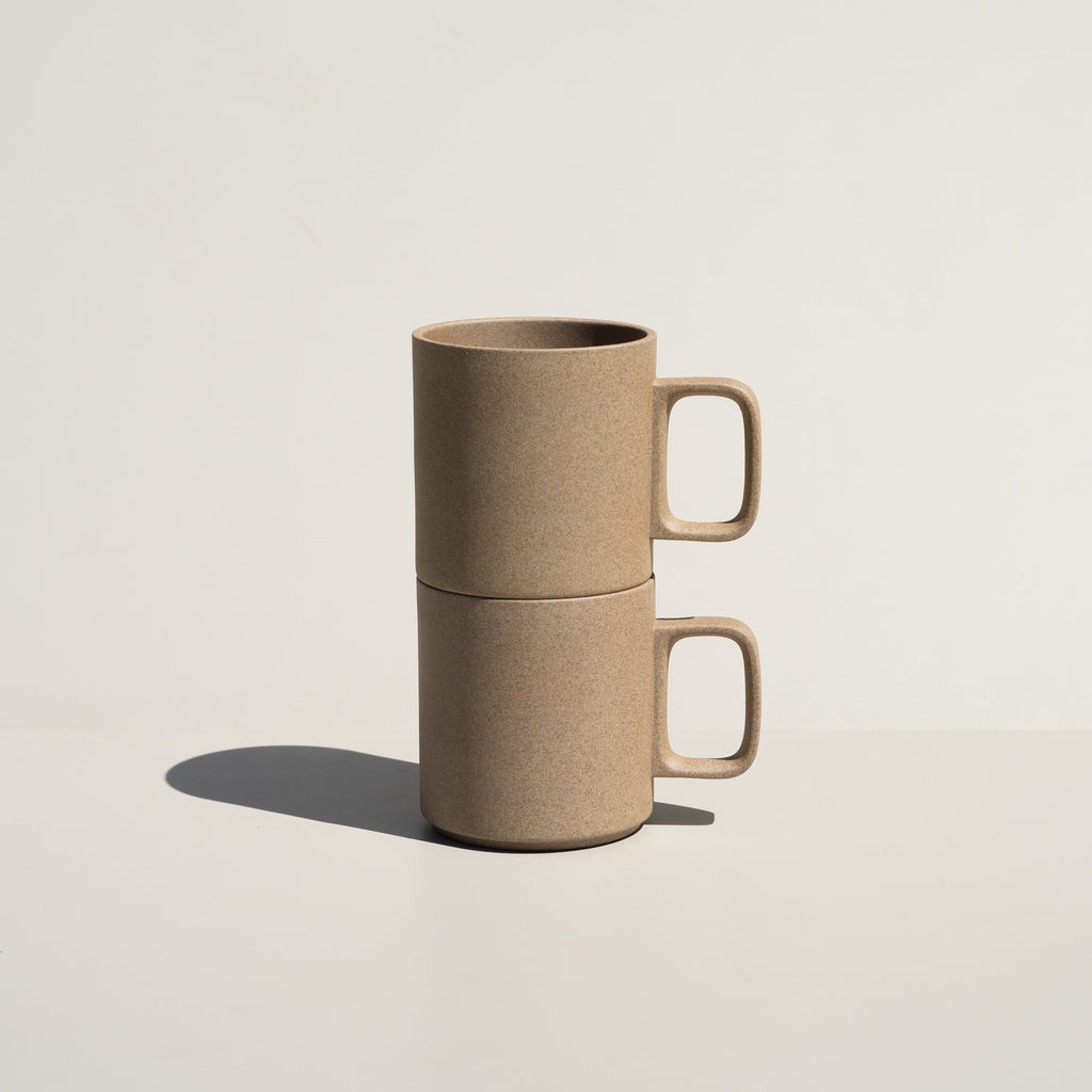 The 13oz Mug in natural from Hasami Porcelain has a stackable design.
