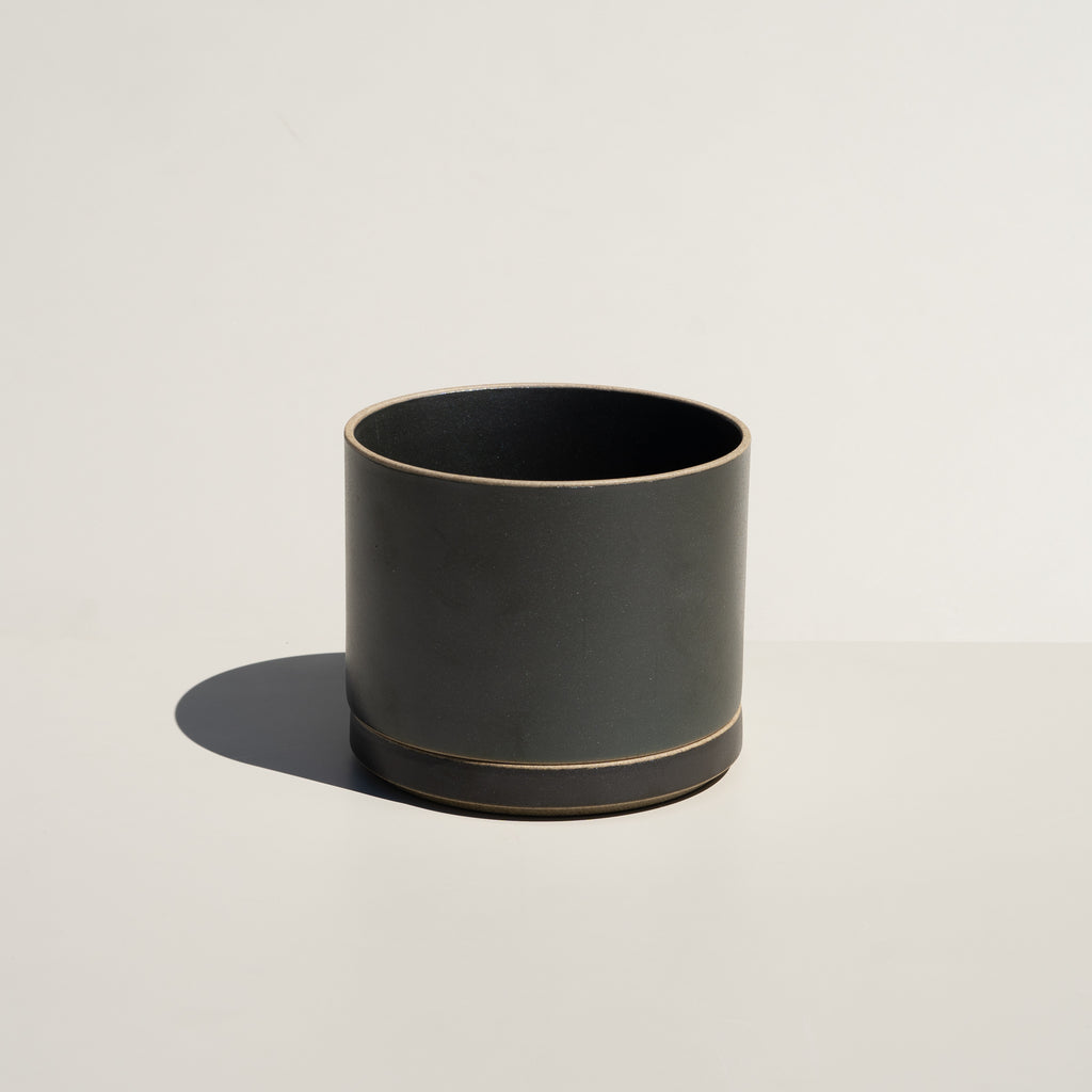 Hasami Porcelain Planter & Saucer in satin black finish.