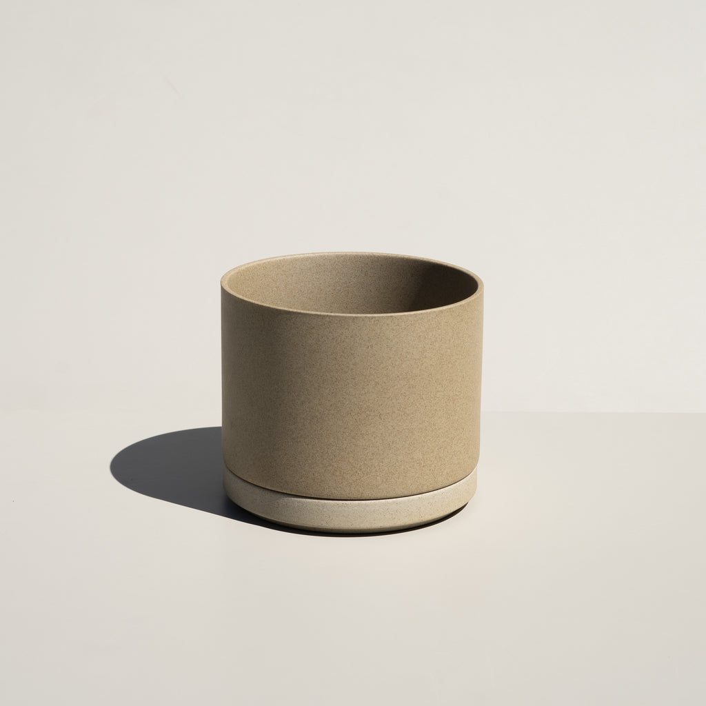 Hasami Porcelain Planter & Saucer in natural finish.