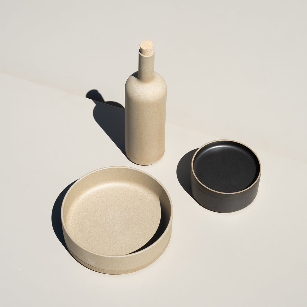 Hasami Porcelain ceramic wares made in Japan, featuring the bottle in natural.