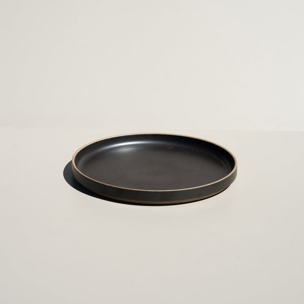 "Hasami Porcelain 8.5/8"" plate in satin black finish."