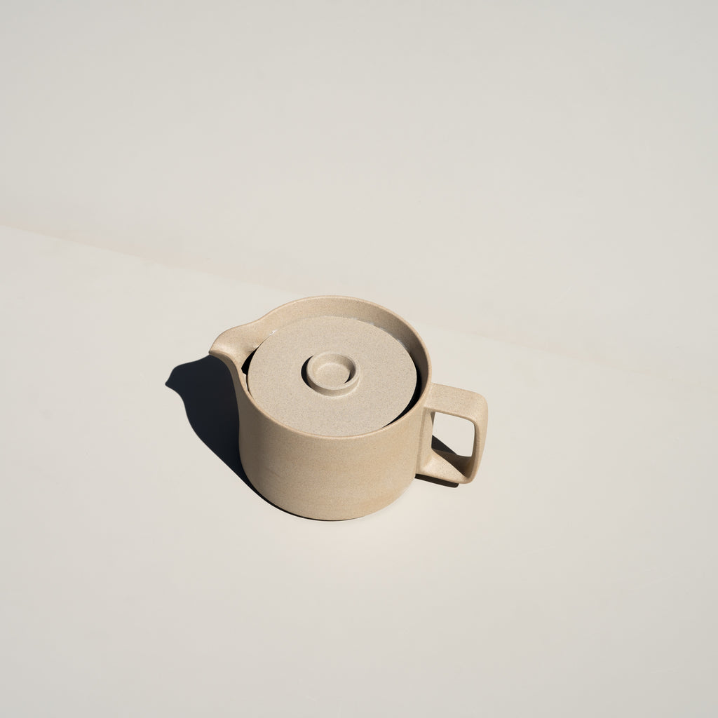 The Teapot in natural from Hasami Porcelain has a stackable design.