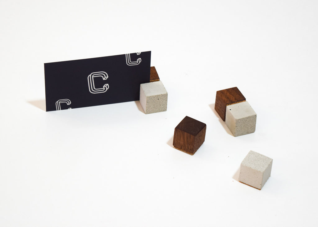 Block Magnets from Human Crafted in a set of 6 made from concrete, cork and walnut.