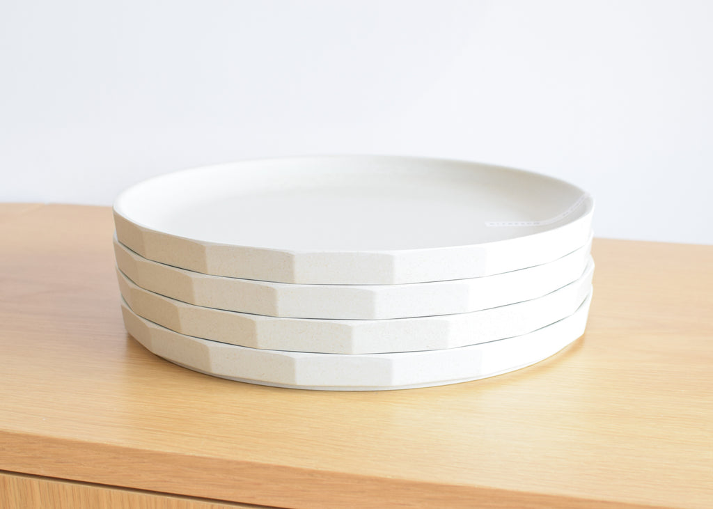 The Kinto Alfresco Large Plate in beige, stackable and packable.