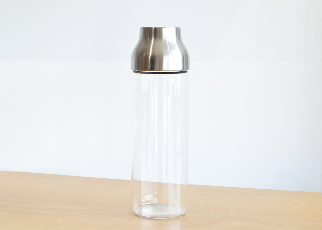 The Capsule Water Carafe from Kinto Japan with stainless steel top.