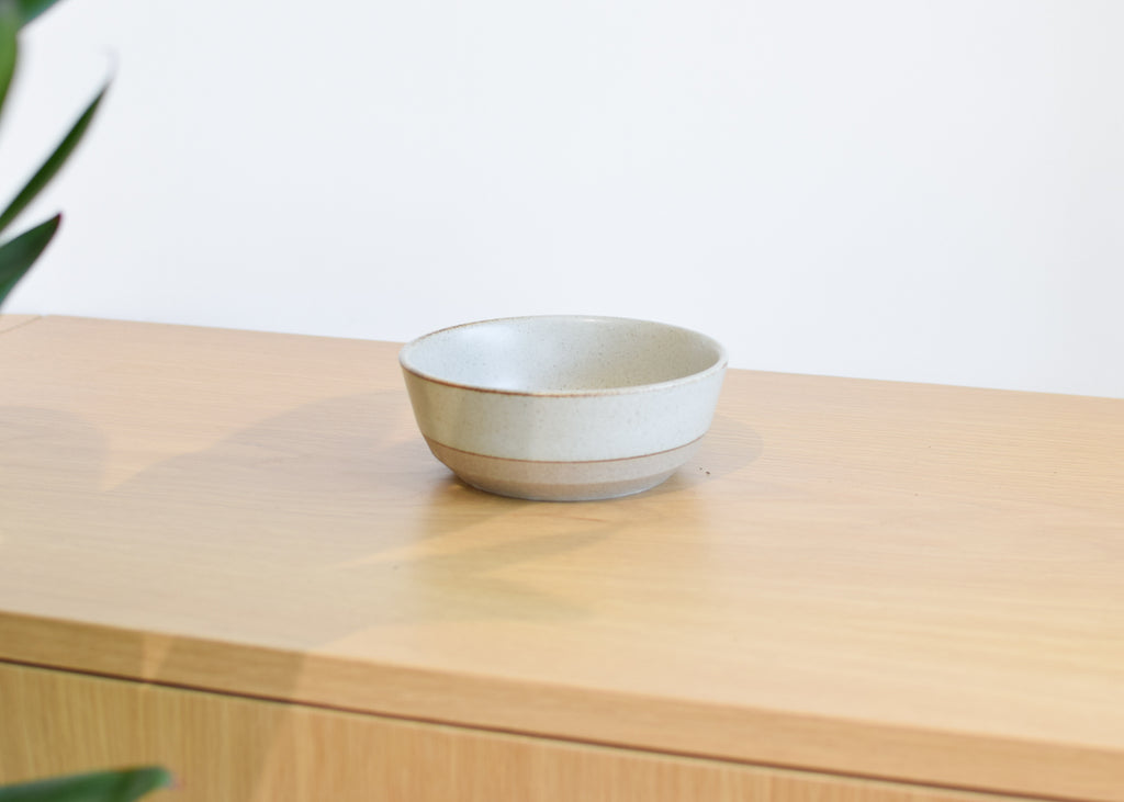 A front view of the Ceramic Lab Bowl from Kinto in beige.