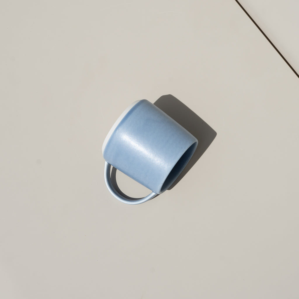 Kinto's Ripple Mug in blue holds 8.45 ounces.