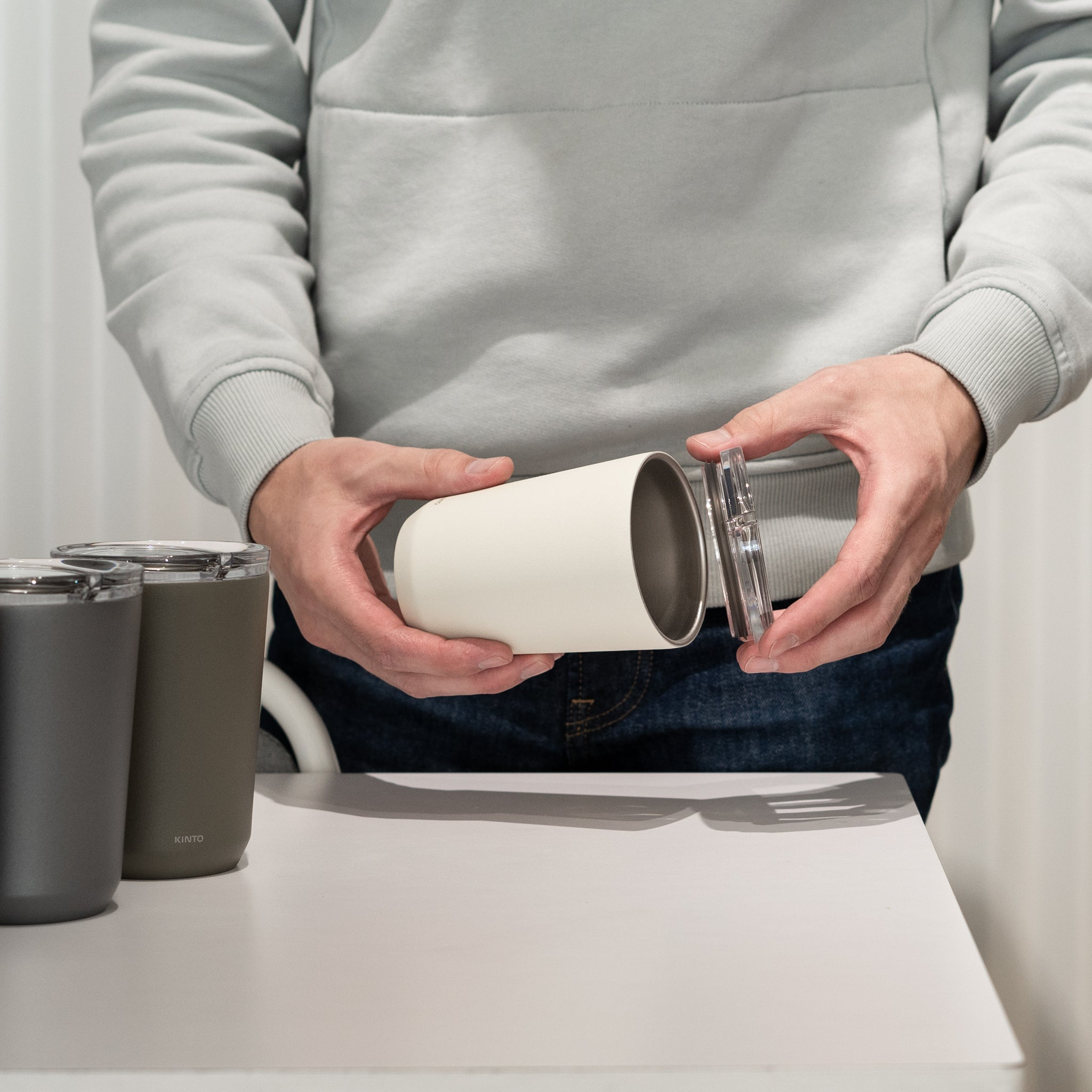 Designed in Japan, Kinto's To Go Tumbler fits easily in your hand and holds 12 ounces.