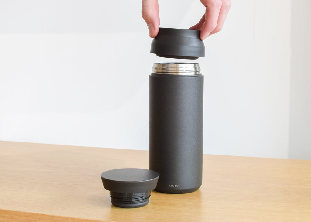 The 500ml Travel Tumbler from Japanese tableware brand Kinto is designed with a two part lid.