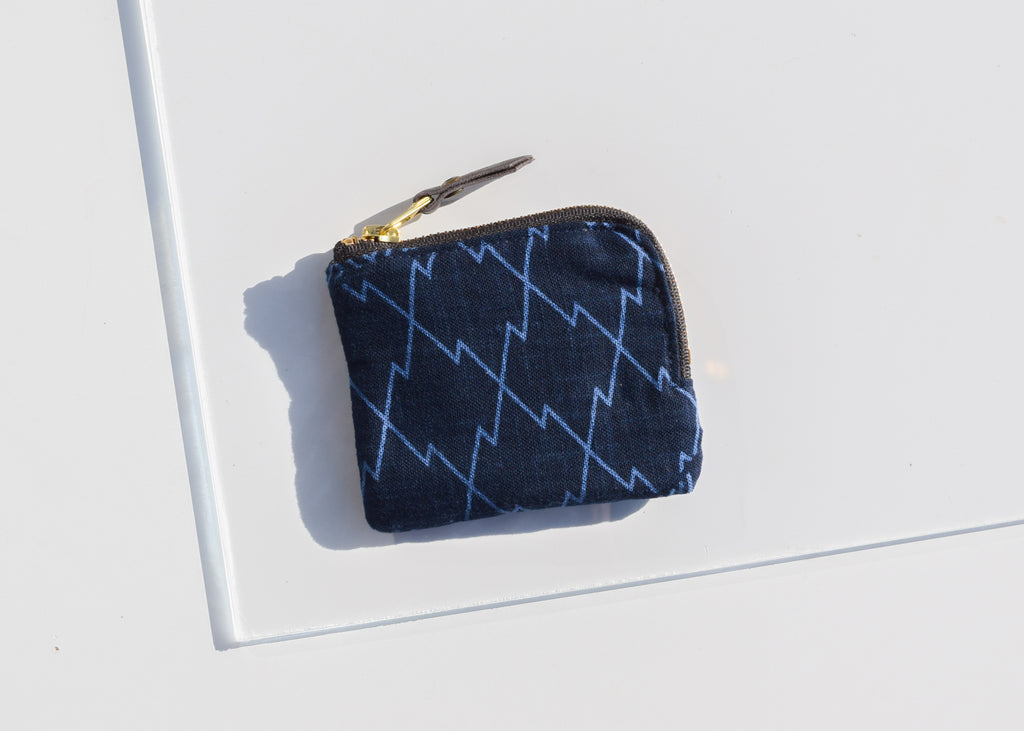 The Zipper Wallet in Indigo Large Multi Pattern from Portland's Kiriko Made.