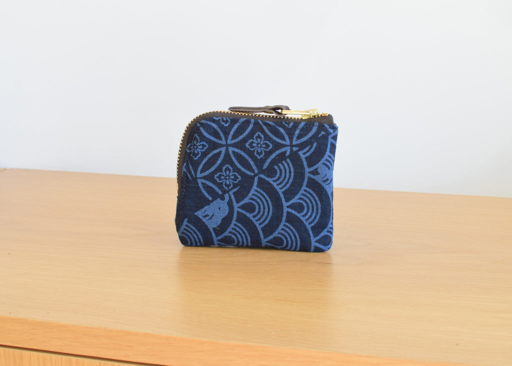The Kiriko Zipper Wallet in Indigo Large Multi Pattern from Commonplace design shop.