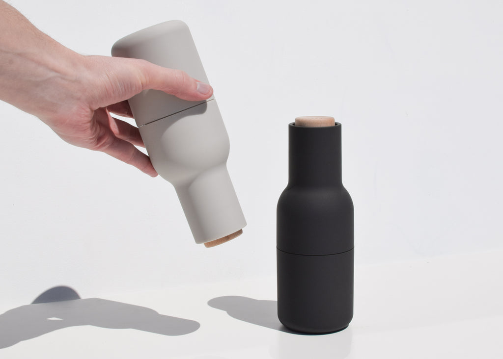 The Menu Bottle Grinders in hand at Commonplace design shop.