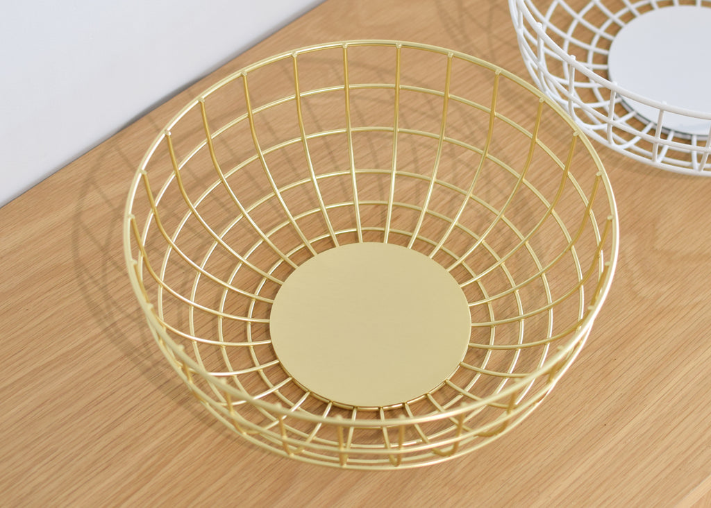 A flat bottom is incorporated into the design of the Wire Bowl from Menu.