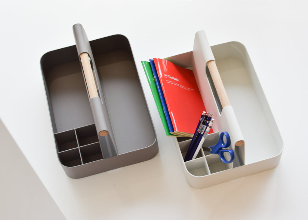 The Elin Desk Caddy has an oak handle and aluminum body, which makes Most Modest's design perfect for heavy use as a tool box, or lighter use in the office.